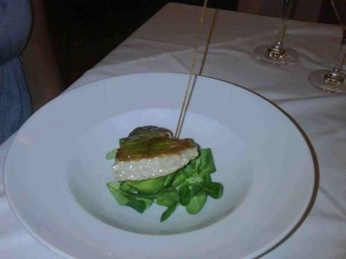 Restaurante en Agua Amarga Taco de atún rojo sobre aguacate relleno de yogurt griego y salsa de soja .