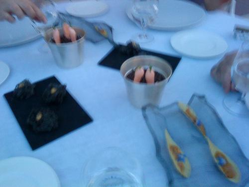 Restaurante La Terraza del Casino Los snacks Hoja de pasión, Merengue de zanahoria