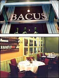 Restaurante Bacus Rótulo de la entrada y comedor