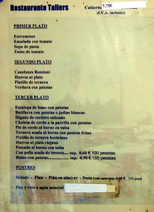 Restaurante Tallers Carta