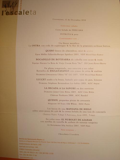Restaurante L'Escaleta Menú