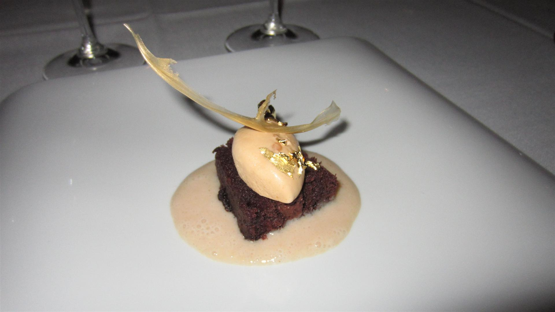 Victor Gutierrez Chocolate cake + ice cream and real gold on top