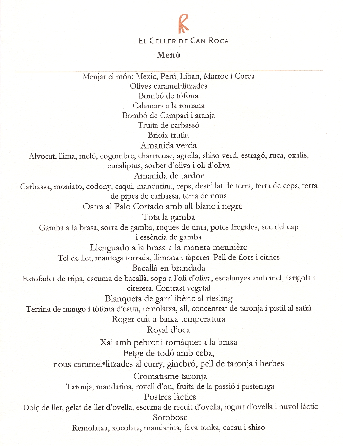 El Celler de Can Roca can roca menu