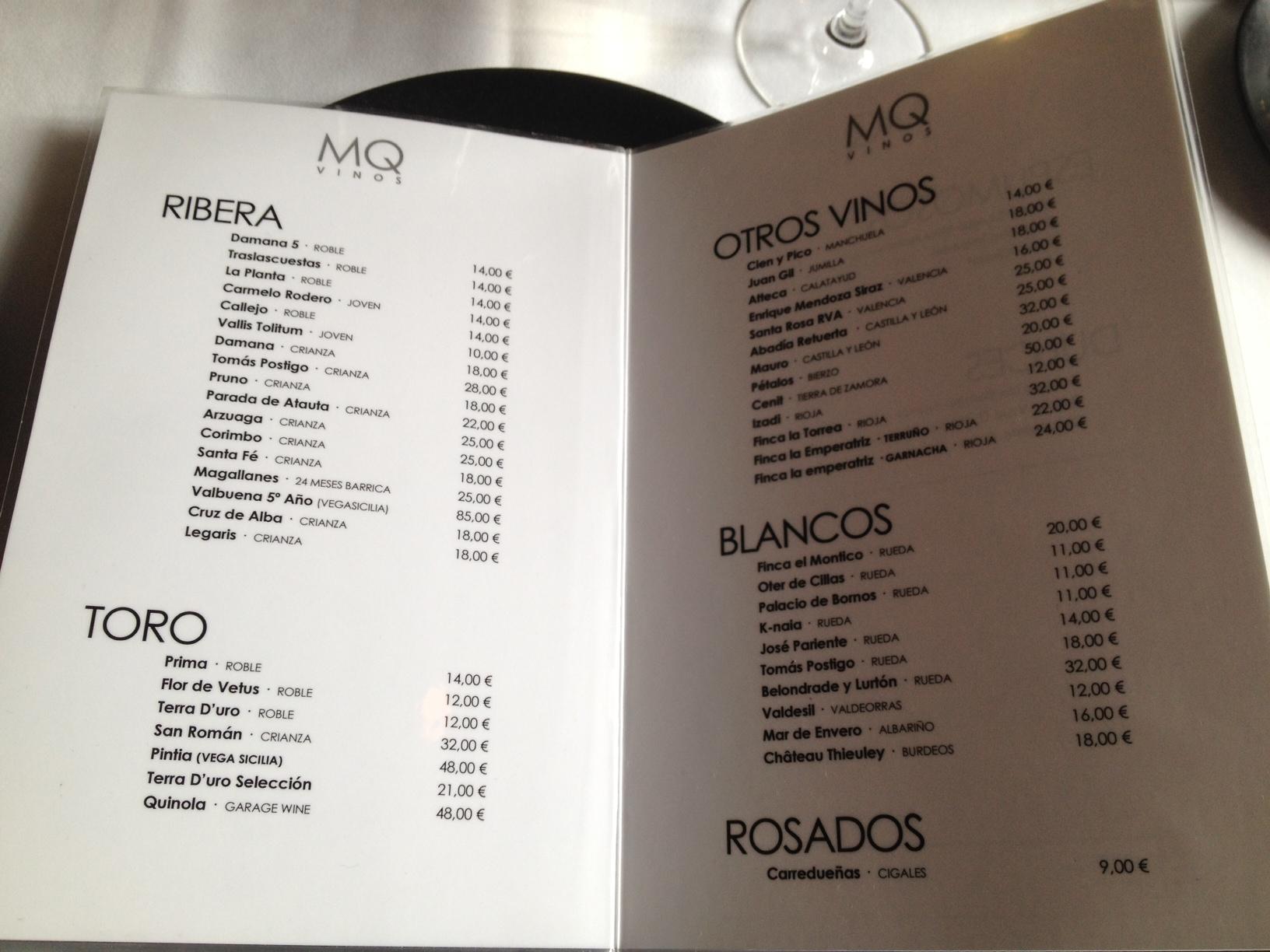 Restaurante Martin Quiroga  Carta de vinos del Restaurante