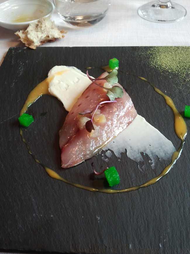 Restaurante Mina Txitxarro ahumado al romero sobre crema de coliflor y gelée de esencia vegetal