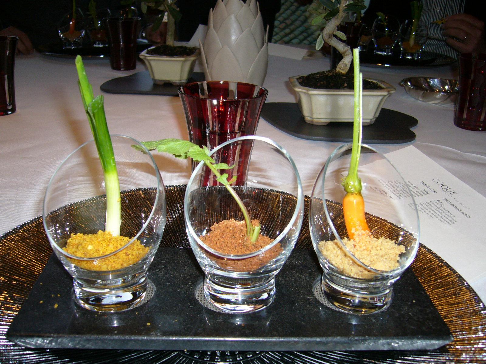 Coque en Humanes Puerro con tierra orgánica de maíz, zanahoria encurtida en crocante de cebolla y rabanito osmotizado en soja con remolacha