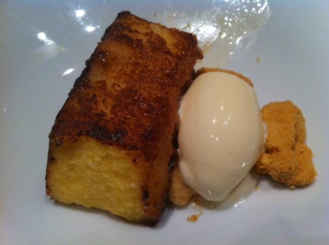 Restaurante Canalla Bistro Torrija caramelizada con helado de mantecado