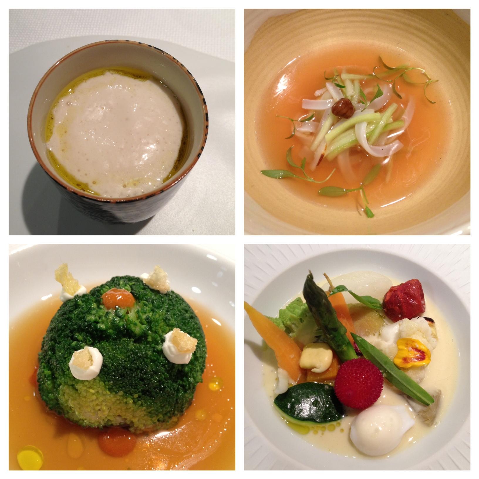 Restaurante en Valencia 1) Capuchino de cachahuete, 2) Sopa fría de calamar, 3) Tartare de atún con brócoli 4) Menestra templada de verduras de otoño