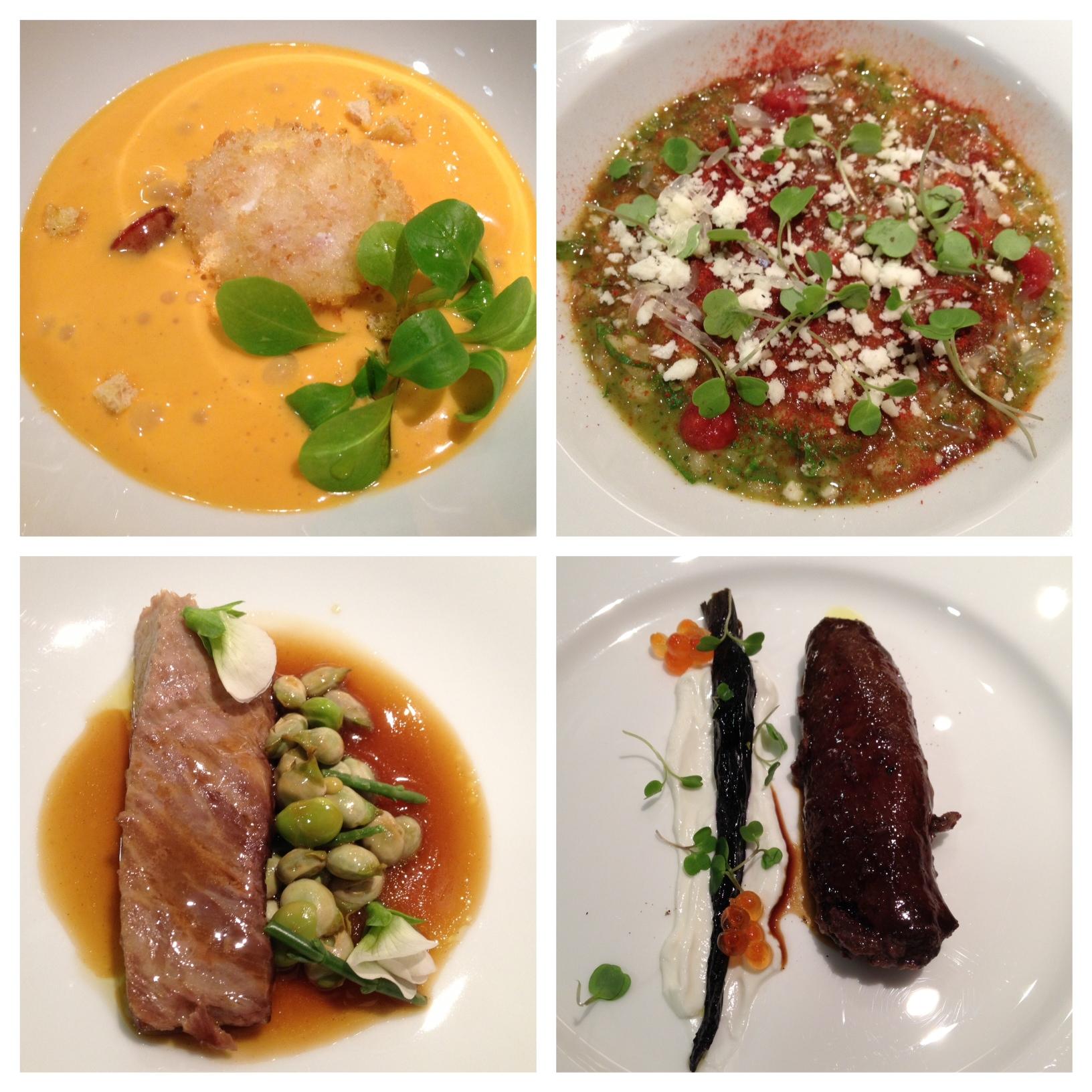 Ricard Camarena en Valencia 1) Huevo frito 2) Arroz margherita 3) Papatana de atún 4) Lomo de liebre