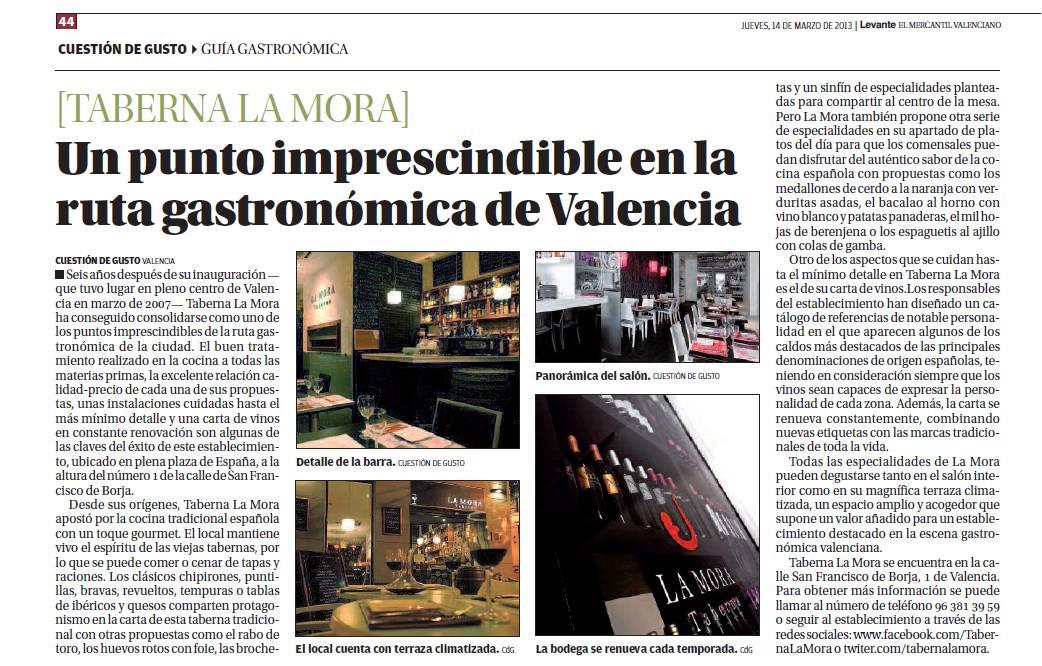 Taberna La Mora Reportaje El Levante