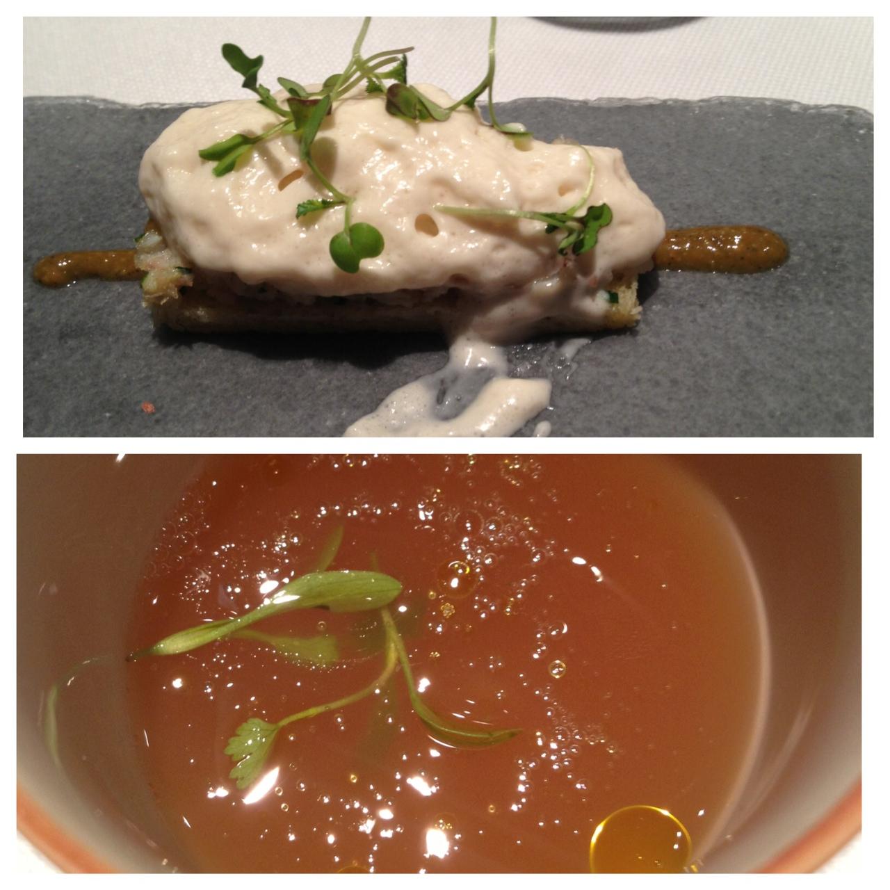 """Restaurante Ricard Camarena Canapé de anguila y cacau del """"collaret""""con una infusión  de pepino y calamar"""