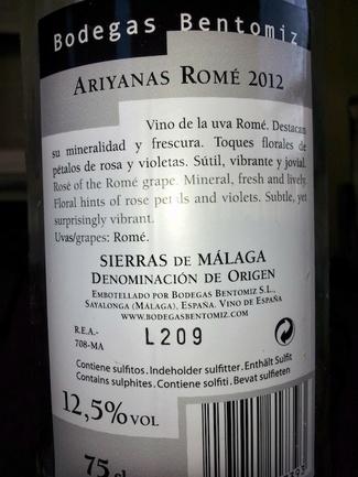 Contraetiqueta de Ariyanas Romé Rosado 2012