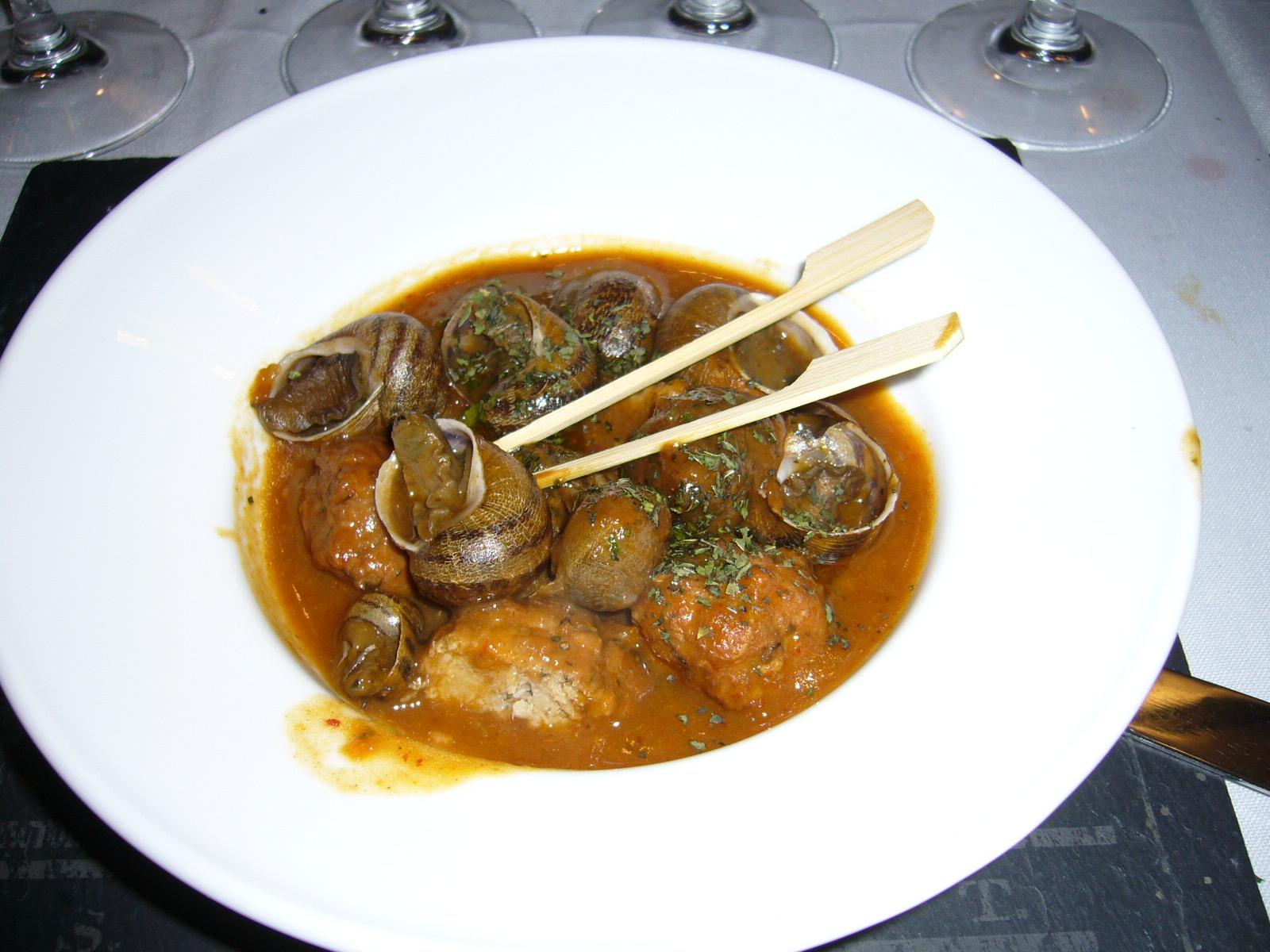 Restaurante Viridiana Albóndigas de conejo de campo con caracoles