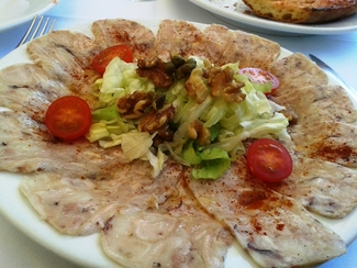 Carpaccio de Pies de Cerdo del Restaurant Fussimanya de Tavernoles