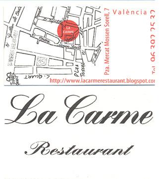 Restaurante La carme en Valencia