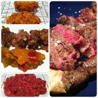 Croquetas, blanquet, Steak-tartare y chuleta.