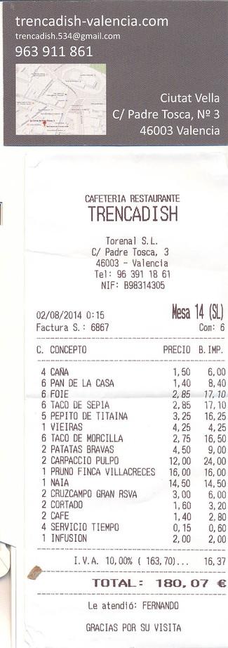 Restaurante Trenca Dish (RESTAURANTE CERRADO) en Valencia