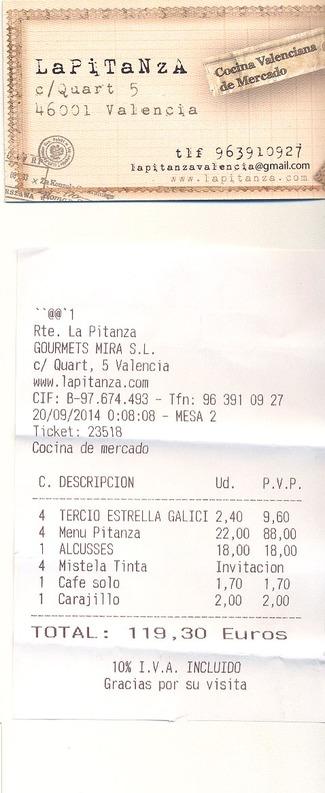 Restaurante La Pitanza (RESTAURANTE CERRADO) en Valencia