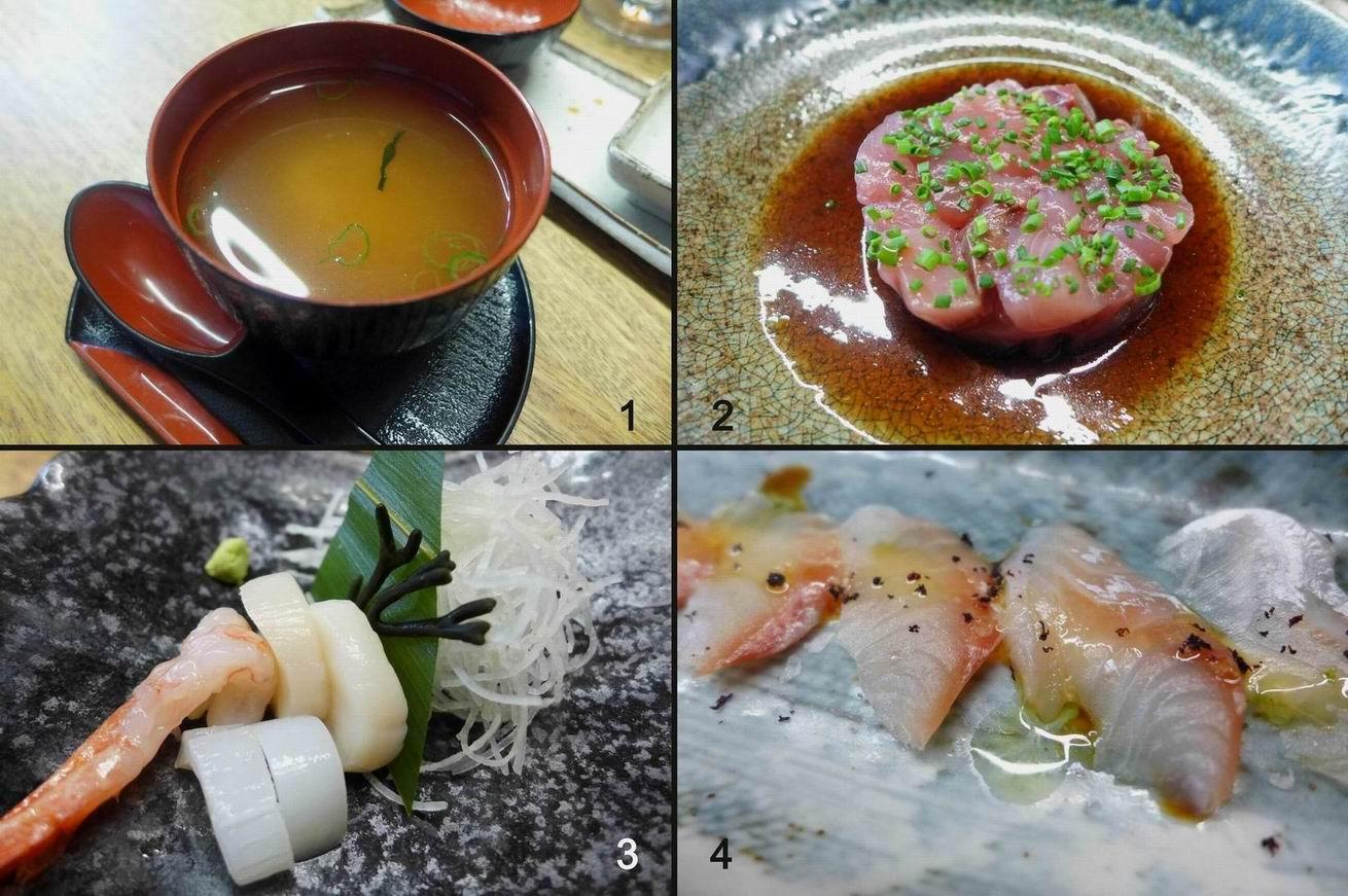 Nozomi Sushi Bar Entrantes y sashimi