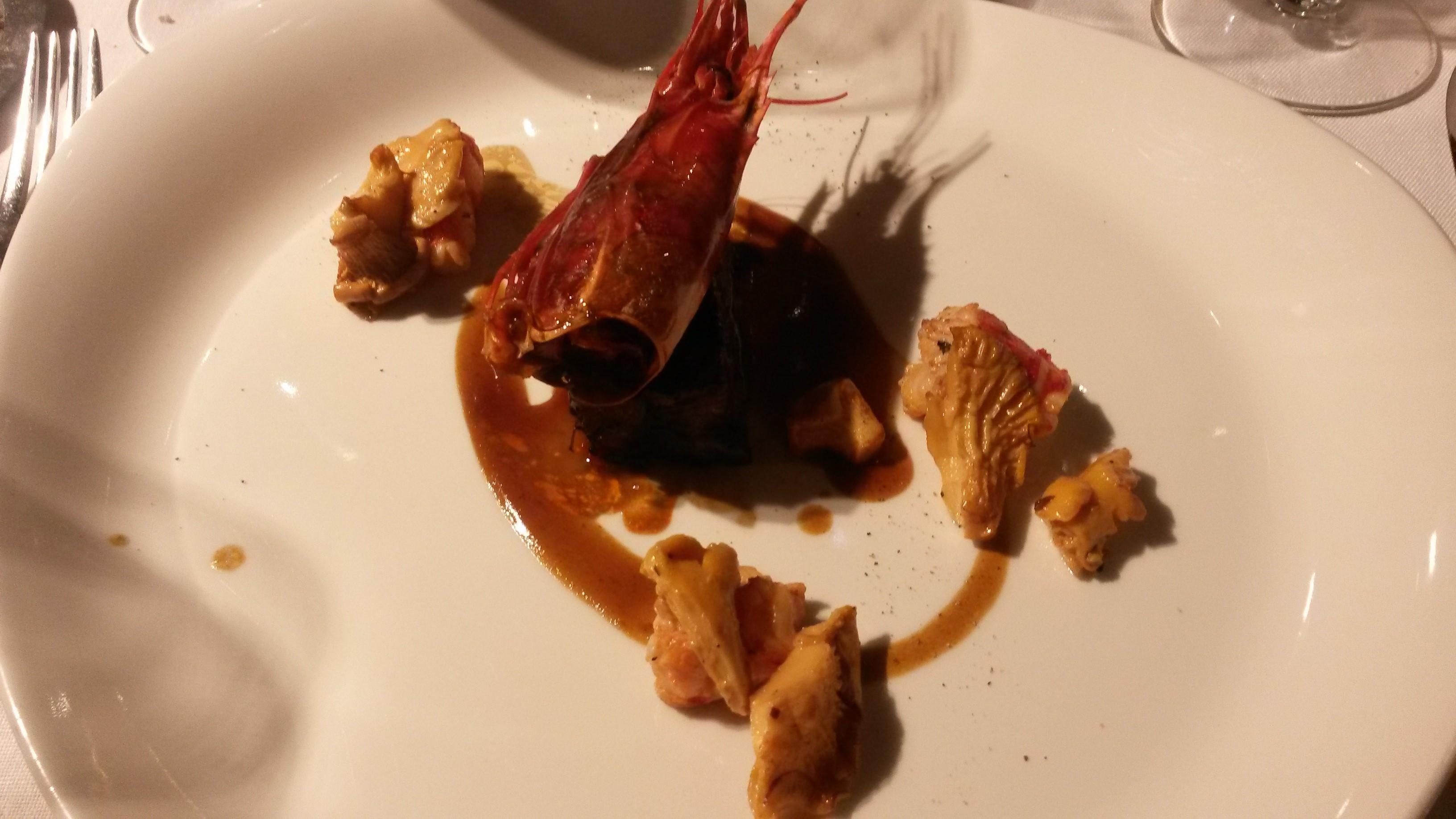 Restaurante Alabaster Lengua de ternera lacada con carabinero