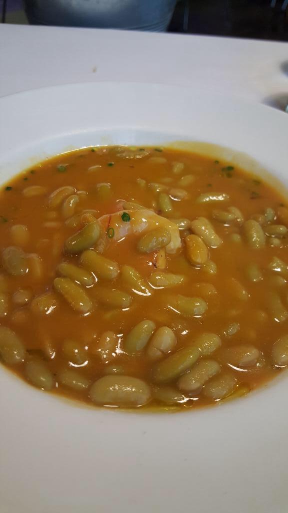 Restaurante Taberna Marcano Verdinas con rape y gamba blanca