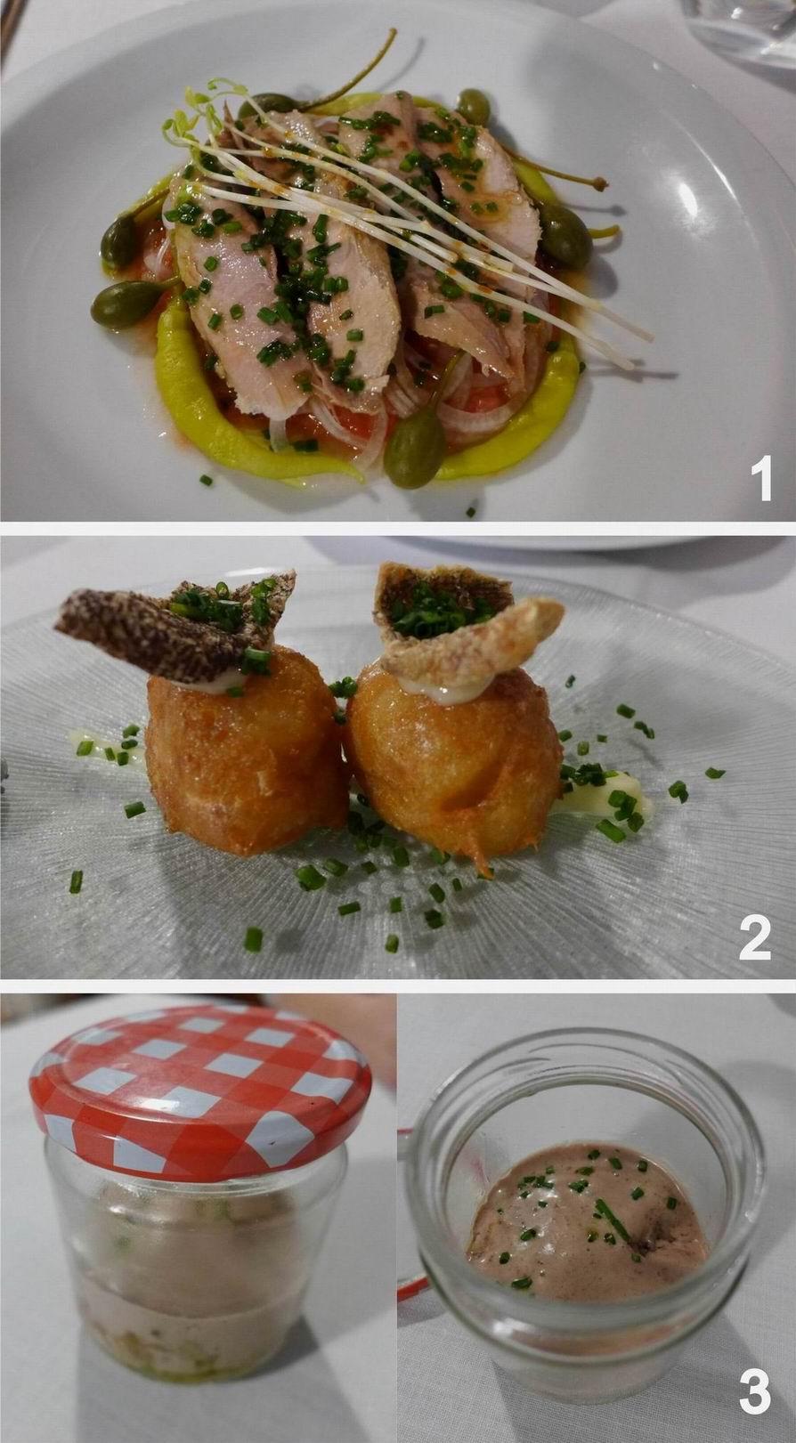 Tavella en Beniferri Ensalada de ventresca, buñuelos de bacalao y blanco y negro