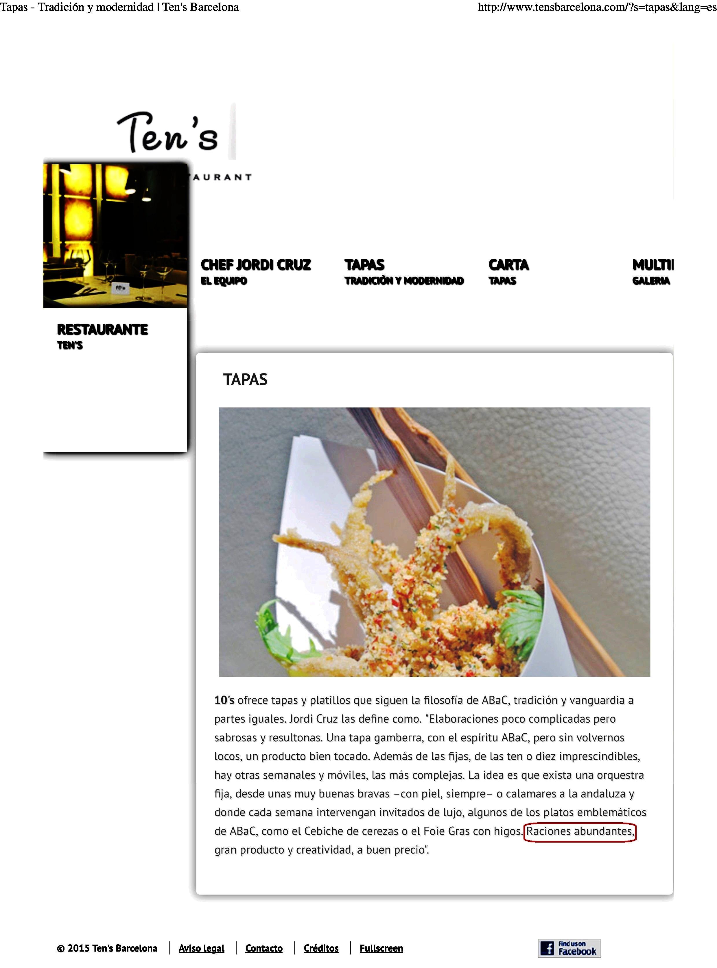 """Restaurante en Madrid Lo de """"raciones abundantes"""" debe ir en broma..."""