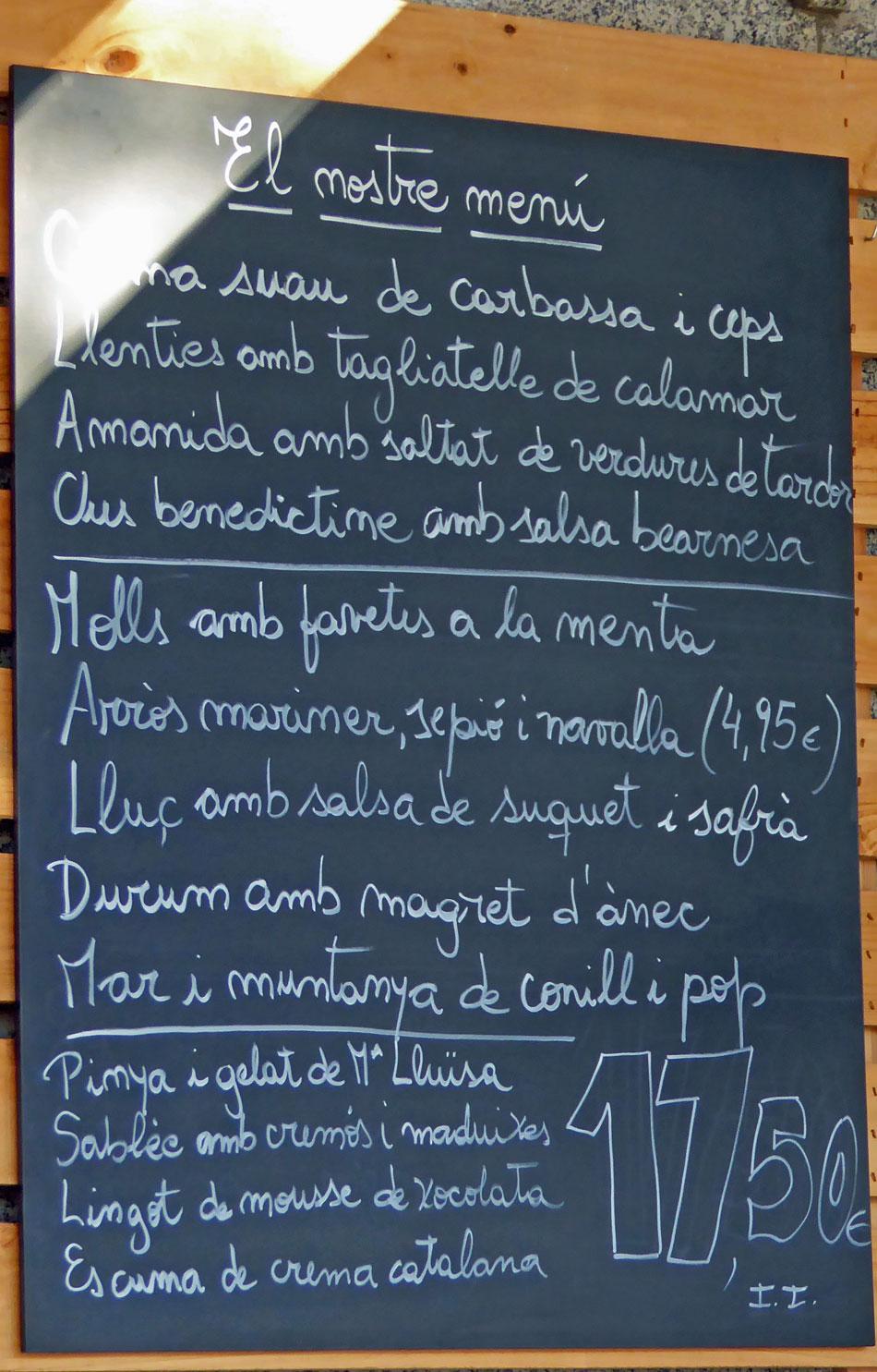 La mar Salada Pizarra del Menú de la semana