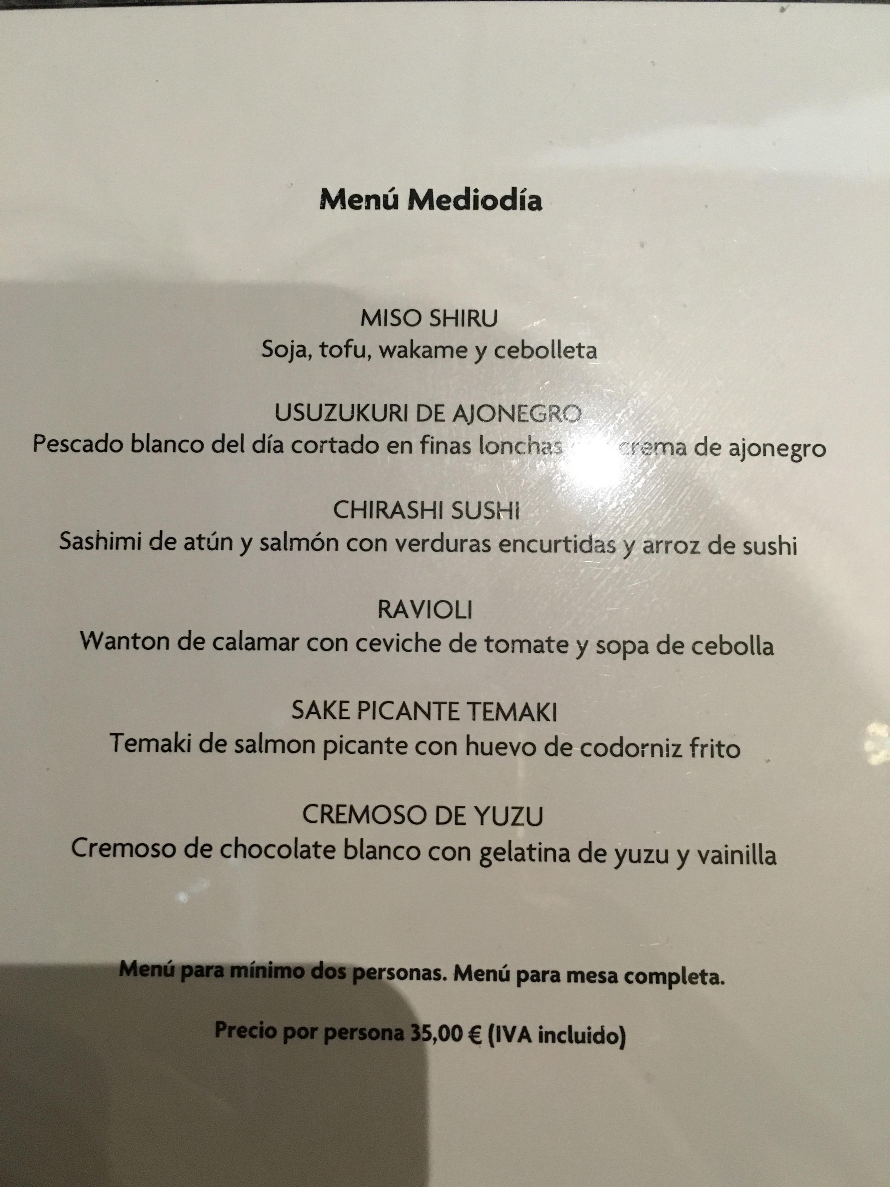 Restaurante Komori Menú del dia