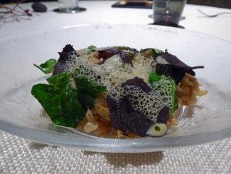 Arroz de la Fonda, verduras, trufa melanosporum y espinacas