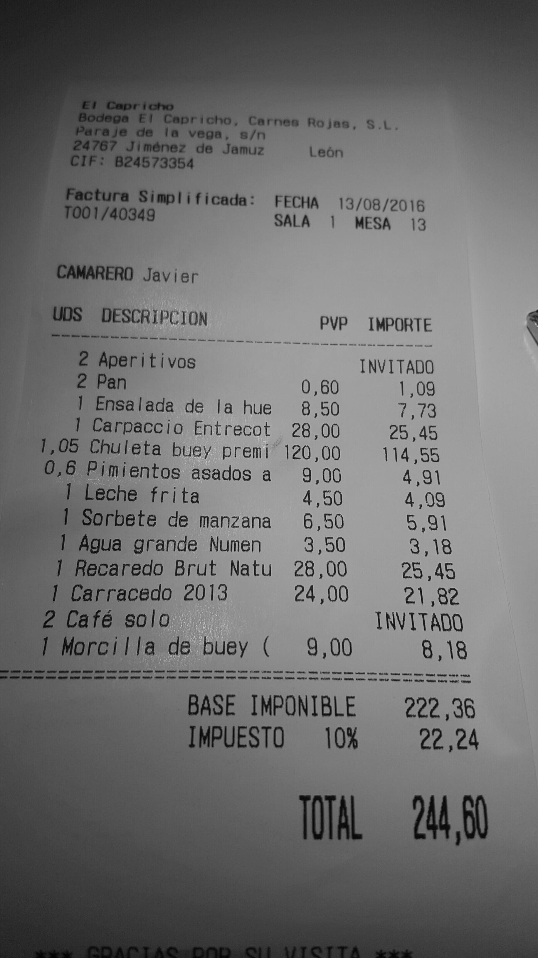 Restaurante Bodega Asador El Capricho La Cuenta