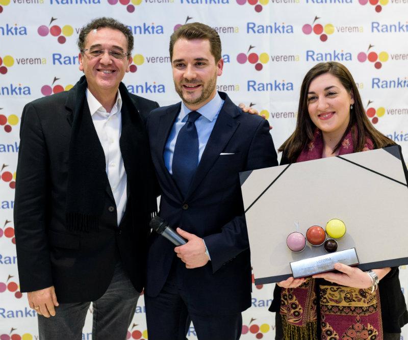Alberto Saldón, Lorena Salvanés y Jose Contreras en la entrega de los premios Verema