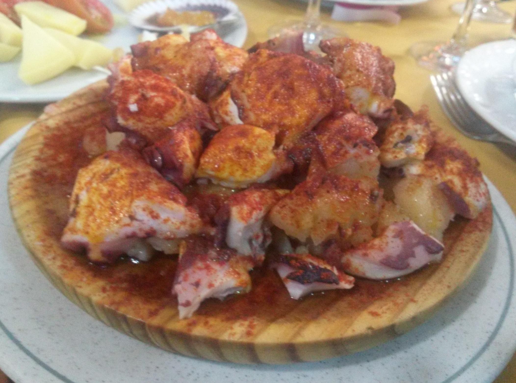 Pulpo a la gallega en O' Peregrino Bizarro, comida 25 febrero, postcata Jerez