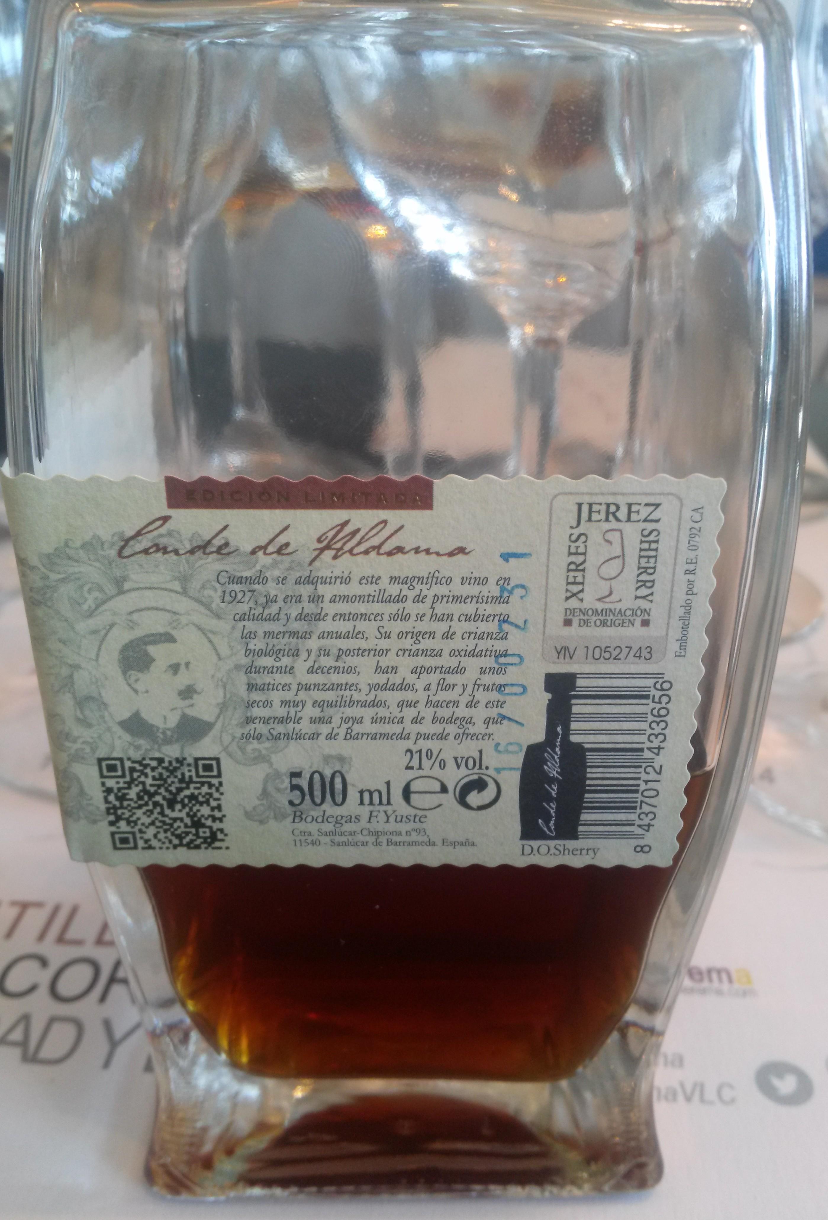 Amontillado Conde de Aldama, +100 años de vejez, maravilloso