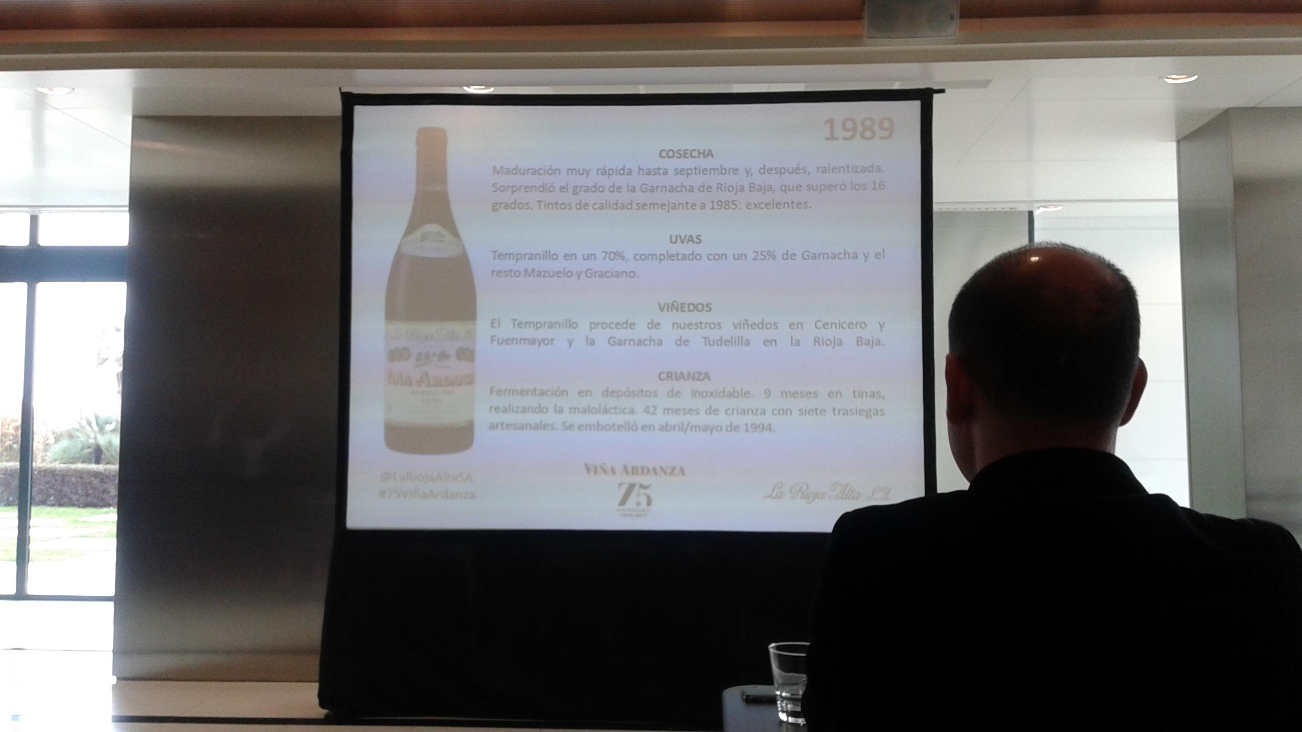Cata sde Rioja Alta, presentación de añadas