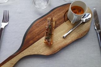 Antxoa del cantábrico y pimiento del piquillo + Crema de calabaza asada y costilla a la barbacoa