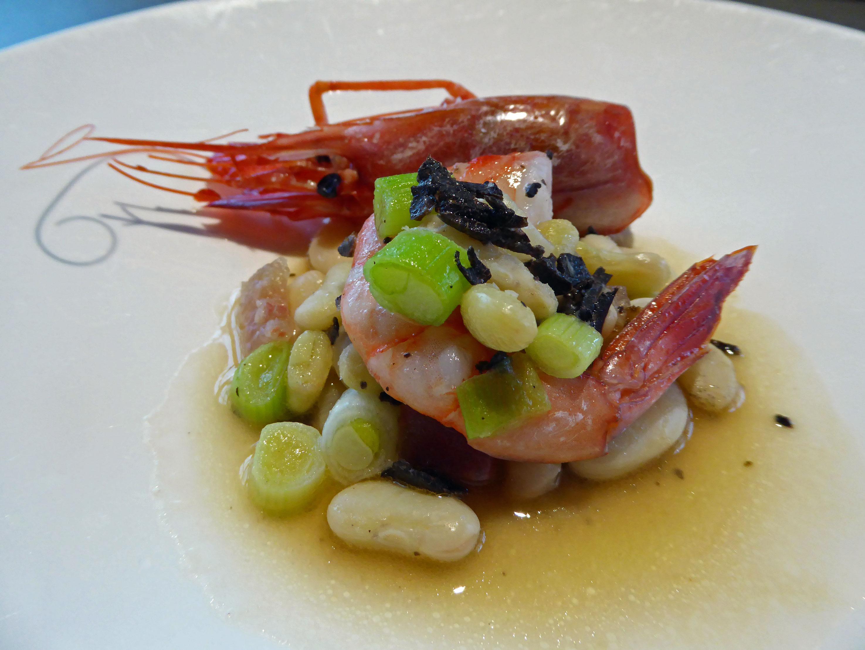 Restaurante Els Casals Judia, gamba y trufa tuber melanosporum