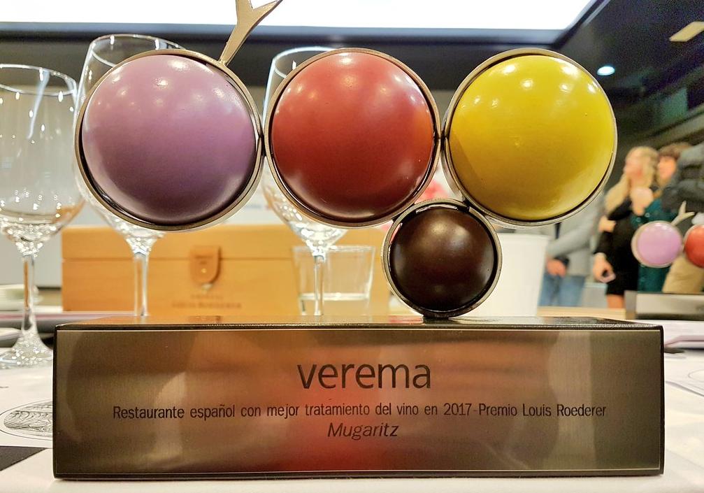 Premio al Restaurante con Mejor Tratamiento del vino del 2017