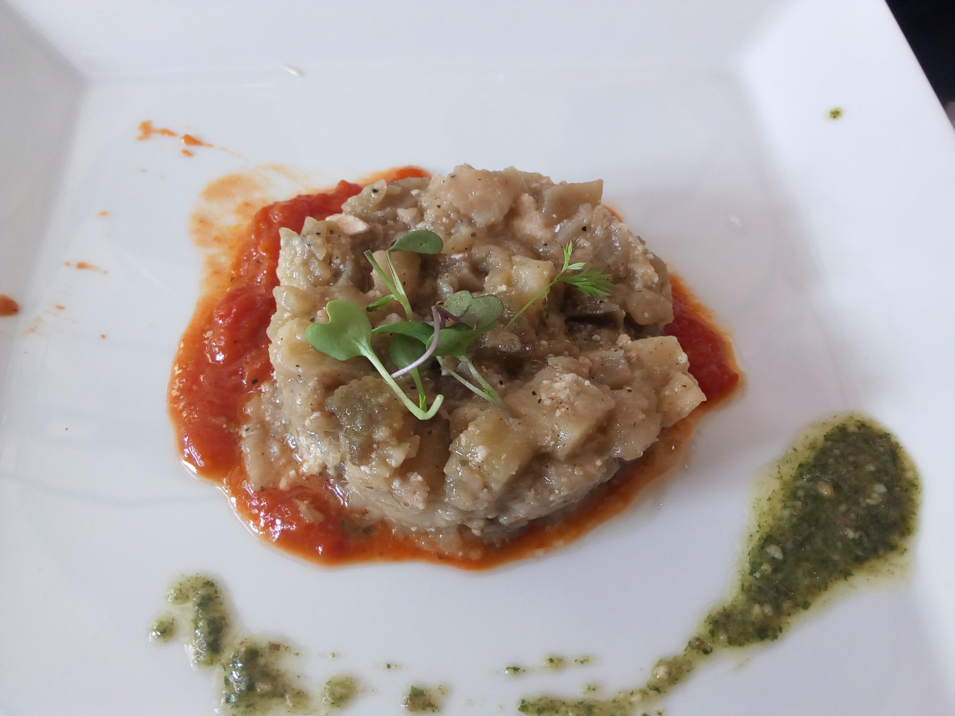 Restaurante en Barcelona Timbal de berenjena con tomate