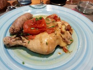 Rustido de pollo y butifarra