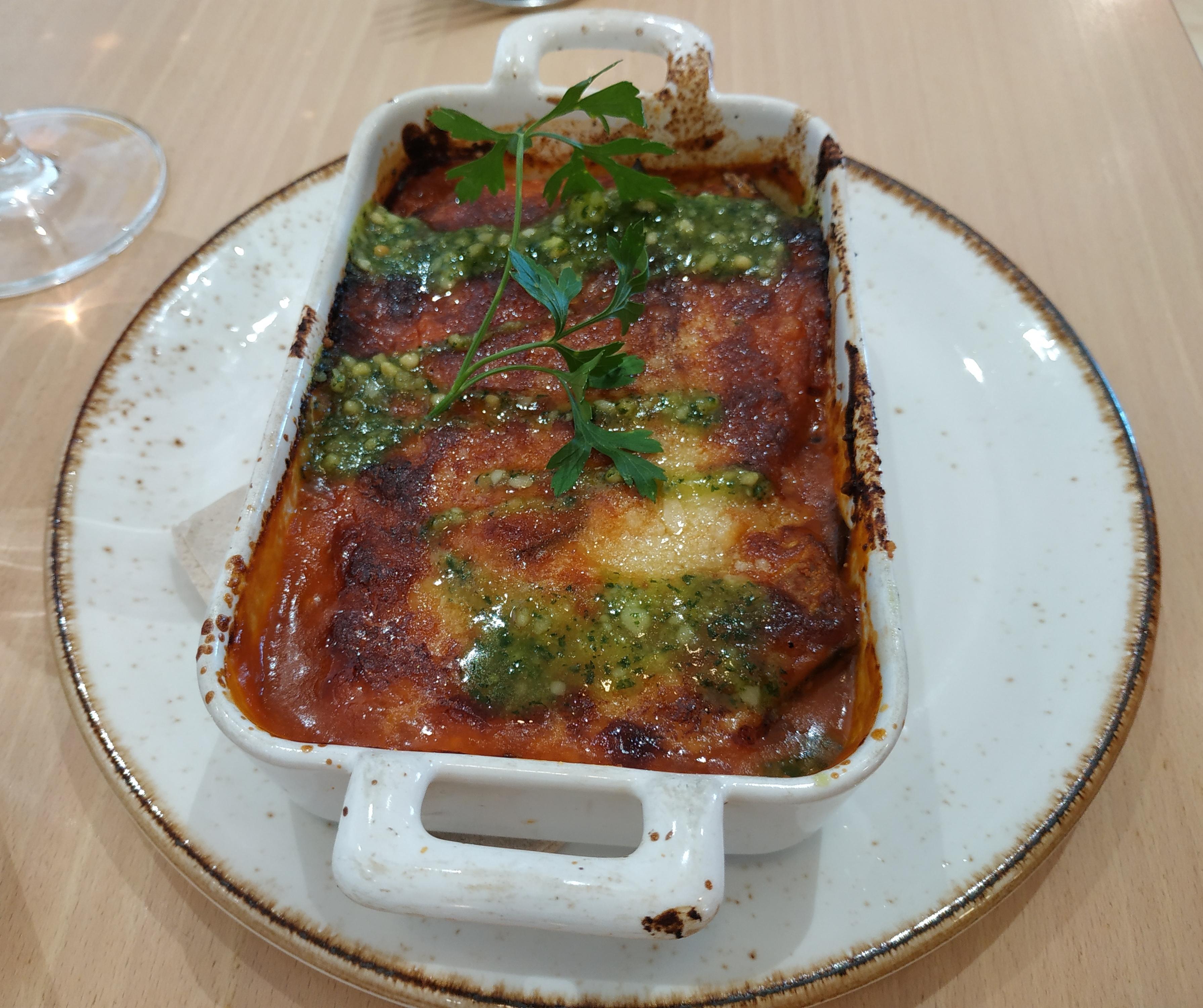 Restaurante El curry verde Parmigiana de berenjenas