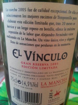 El Vínculo Gran Reserva Edición Limitada 2005, DO La Mancha