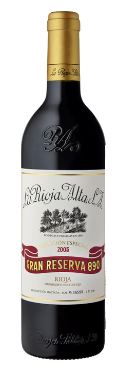 Botella de Gran Reserva 890 2005 de La Rioja Alta