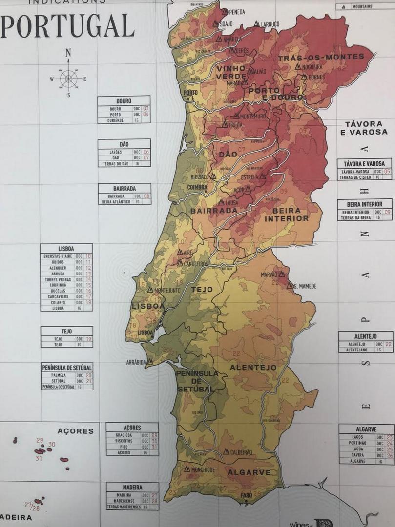 Mapa de zonas vinícolas portuguesas