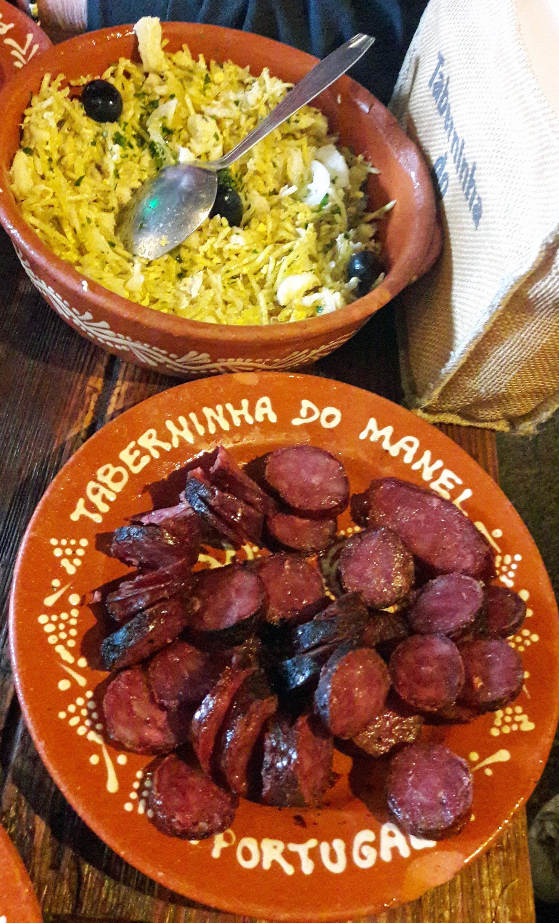Restaurante Taberninha do Manel Bacalao según Bras y chorizo ahumado asado