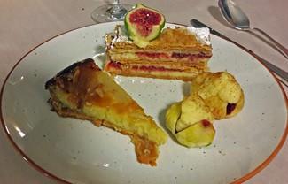 Tarta de peras y almendras, Milhojas de higos, Higos asados con crema pastelera
