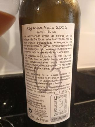 Sacristía AB Manzanilla Segunda Saca 2016, DO Manzanilla - Sanlúcar de Barrameda