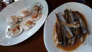 Zamburiñas y navajas en salsa