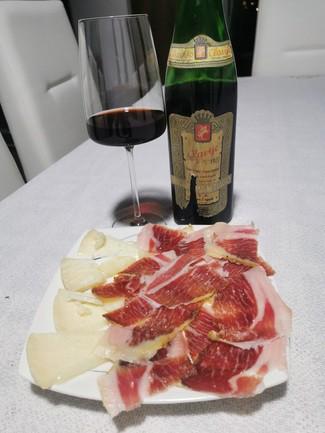 Con el jamón de bellota y el queso curado