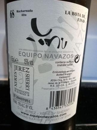 La Bota de Fino Marcharnudo Alto nº 68 Equipo Navazos, DO Jerez/Xérès/Sherry